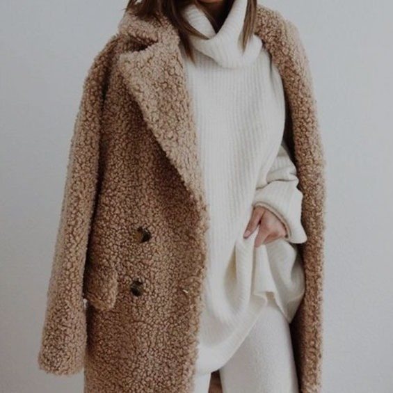 sweater monochrome layer fuzzy coat